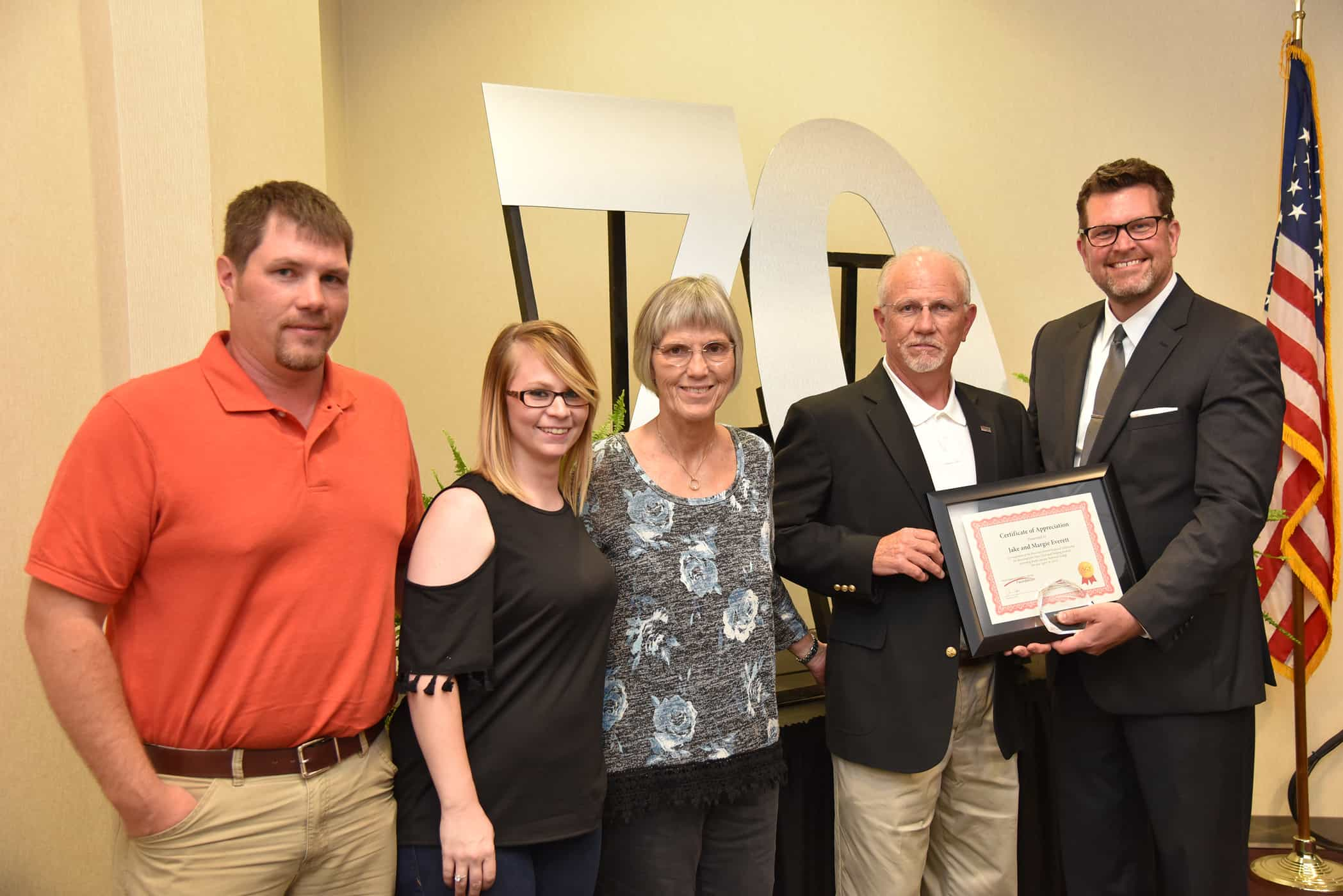 Dr. John Watford, President of South Georgia Tech is shown above recognizing the Jake Everett family for their endowment of the Rose Ann Everett scholarship for John Deere Tech and Welding students in memory of their daughter Rose Ann Everett. Shown above (l to r) are Jayson and Linda Everett and Margie and Jake Everett.