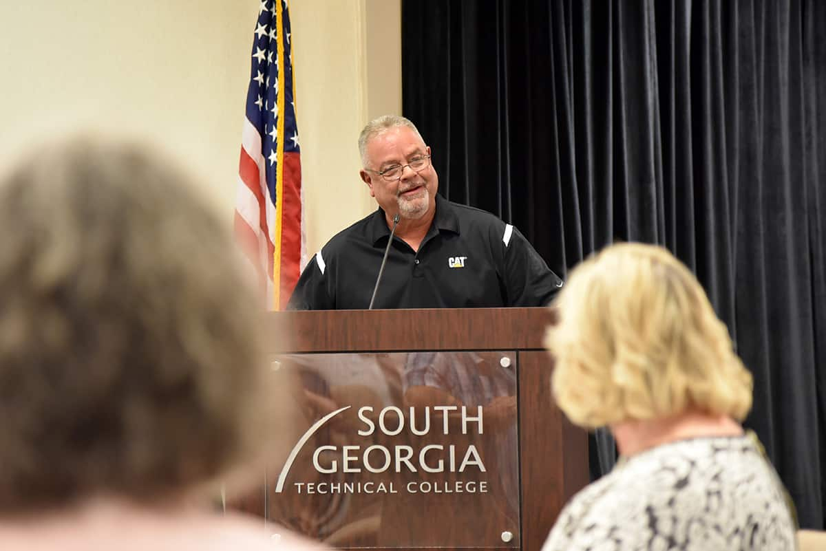 Rick Davis is shown above speaking at his retirement reception from South Georgia Technical College.