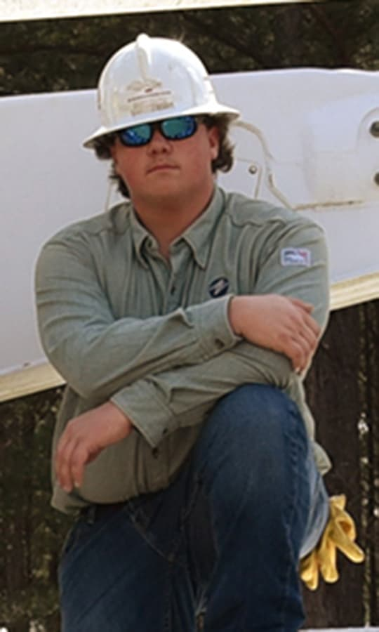 SGTC Electrical Lineworker Kyle Glenn Holcombe Scholarship recipient Brice Edmonson.