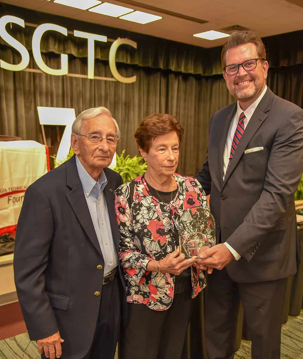 "The ""Two Great Choices – One Great Community"" effort has been ongoing for over 10 years.  Dr. Watford is shown above thanking Earl and Barbara Gammage for their efforts in helping support scholarships at South Georgia Technical College and Georgia Southwestern State University."