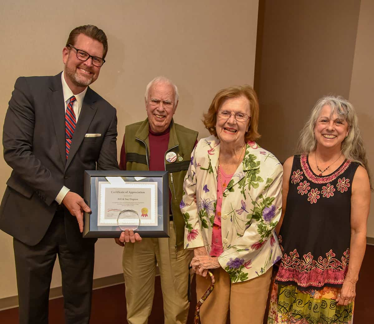 Rev. Bill and Sue Dupree endowed their third endowed scholarship at South Georgia Technical College and Dr. John Watford is shown above with the Dupree's and their daughter Mary Lynn.