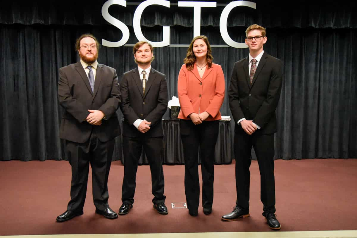 Pictured Left to right are SGTC GOAL semi-finalists Matthew Ross, David Bush, Sierra Berry, and Garrett Kennedy.