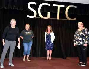 Leslie Fisher is shown above with RESA's Tonya Barrett, SGTC Grant Coordinator Nancy Fitzgerald and RESA's Heidi Goodin. The presentation was provided at no cost to area educators by SGTC and RESA through grant funding.