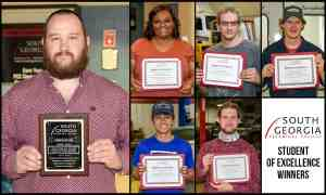 SGTC Student of Excellence overall winner Jonathan Camp (left) and nominees (top row) Shaquitta Cannon, Charles Young, Timothy Richardson, (bottom Row) Jesse Salazar, and Ethan Ethridge.
