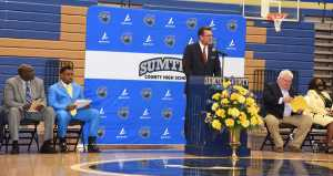 SGTC President Dr. John Watford speaking at Sumter County High School ribbon cutting ceremony.