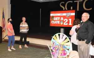 Dr, David Finley is shown above during the Get a Clue Changing Lives game at the Employee luncheon.