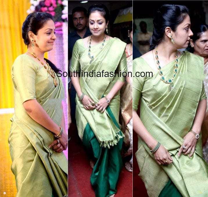 Jyothika In A Half And Half Silk Saree South India Fashion