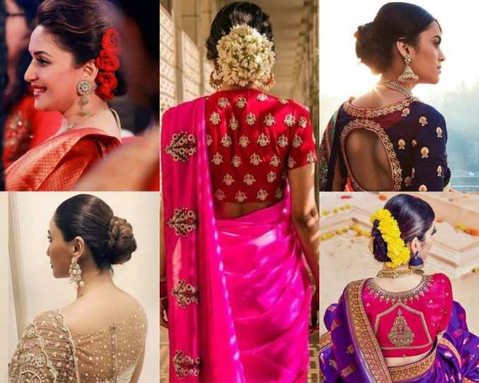 amazing ways to wear hair buns with traditional sarees!