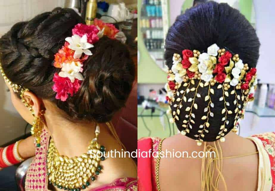 indian bun hairstyles with flowers