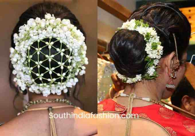 indian wedding bun hairstyle with flowers and gajra!