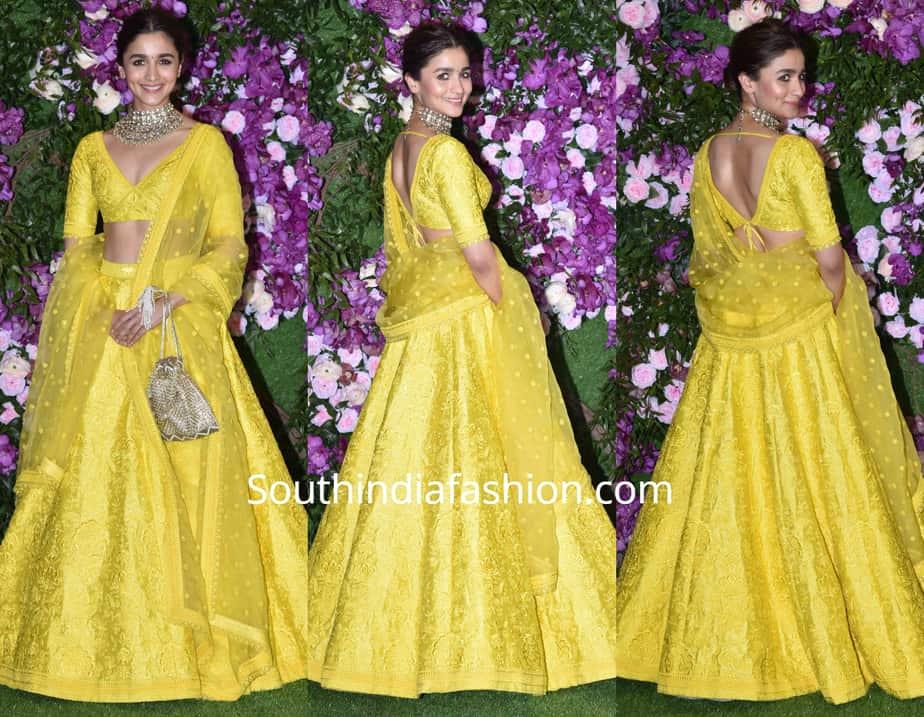 Alia Bhatt In A Yellow Sabyasachi Lehenga At Akash Ambani