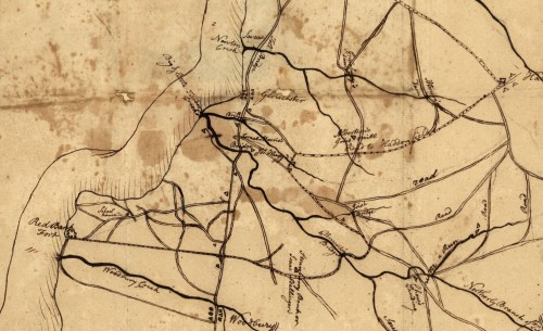 """Part of an anonymous """"Sketch of the Roads,"""" probably early November 1777. The dashed line shows the Hessian march route crossing Little Timber Creek through Captain Harrison's property. (Photo: Library of Congress)"""