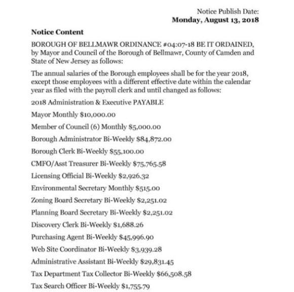 2018 Borough of Bellmawr Salary Ordinance