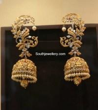 Antique Gold Lakshmi Jhumkas - Jewellery Designs