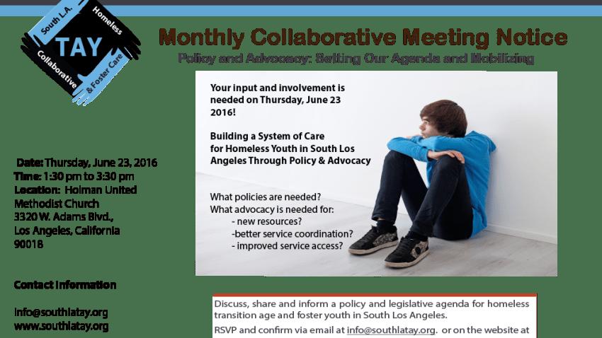June  2016  South LA TAY Meeting Notice rev