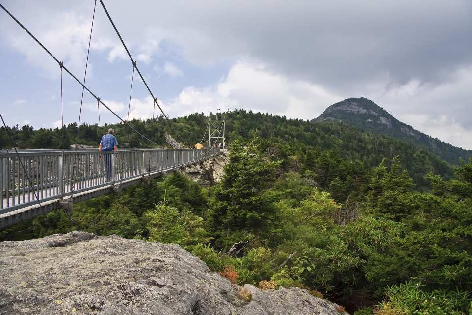 Mile High Swinging Bridge at Grandfather Mountain in North Carolina