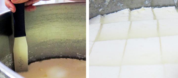 cream cheese being cut