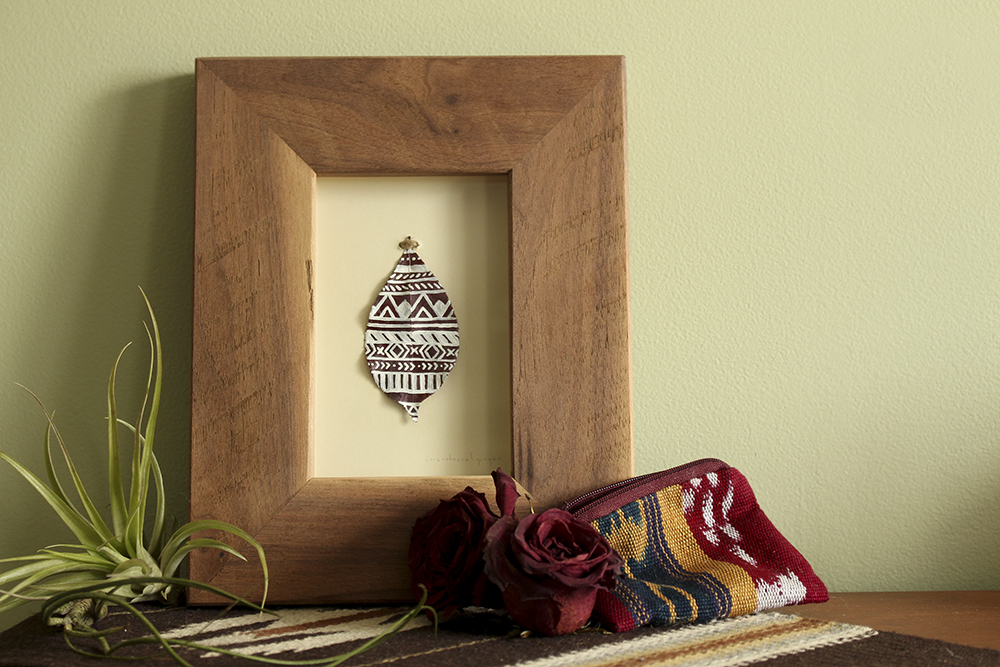 Small Red Geometric Framed Painted Leaf
