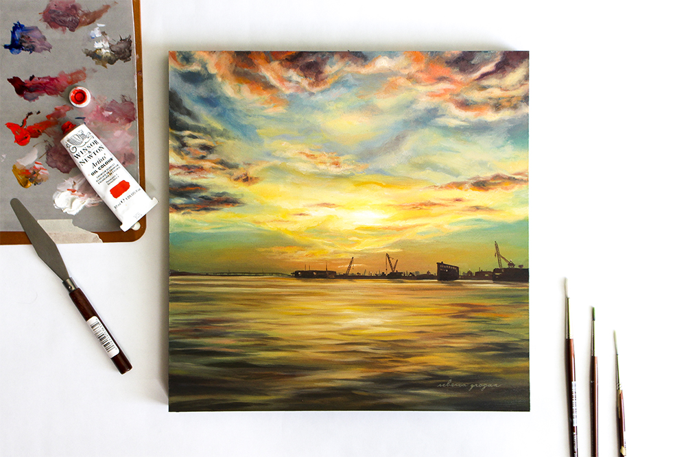 Galveston Sunset Original Oil Paintings by South Ranch Creative