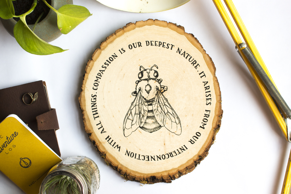 """""""compassion"""" bee design screen printed on wood plaque"""