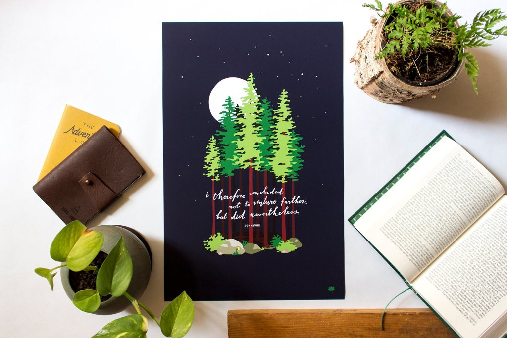 "Picture of 11x17"" Venture Farther poster print with digital tree illustration and John Muir quote"