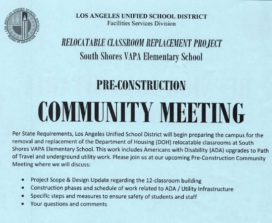 South Shores Elementary School Pre-Construction Meeting, March 21