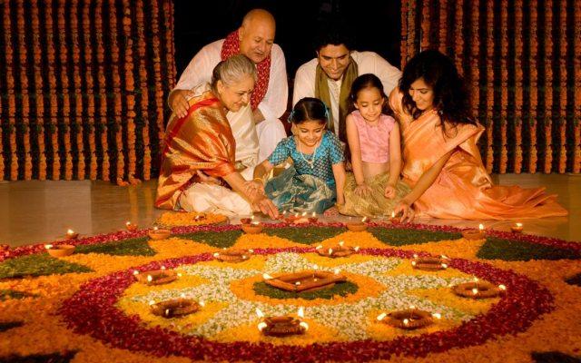 Indian family celebrating the diwali festival
