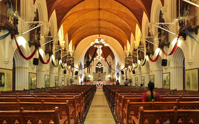 Interior of San Thome Basilica chuch in Chennai.