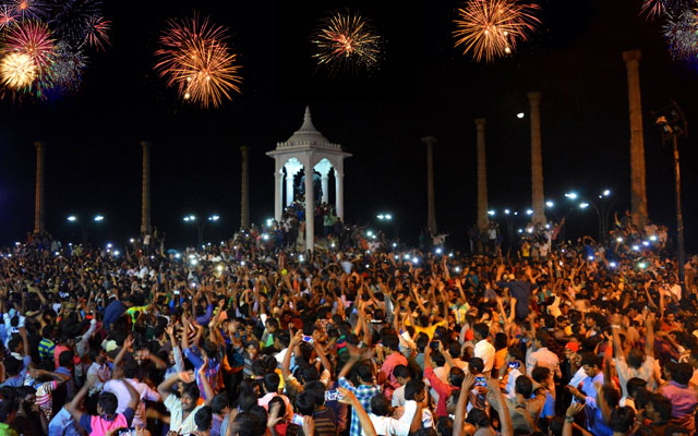 New Year celebration in Puducherry Mahatma Gandhi Statue