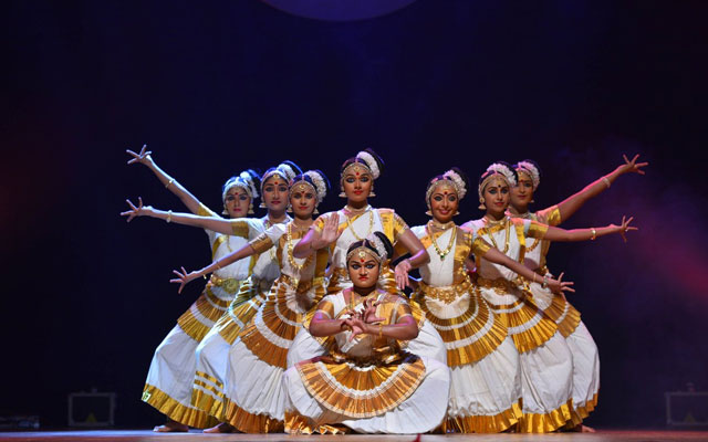 Mohiniattam artists performs Mohiniyattam dance form in a stage