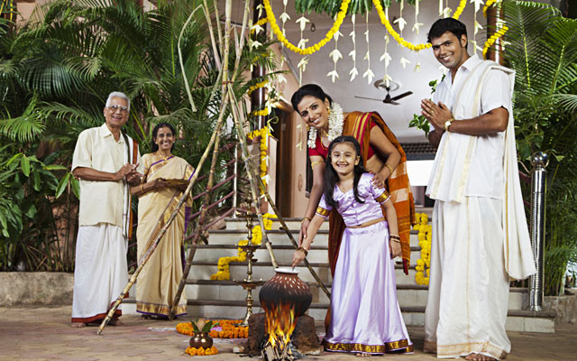 Pongal festival celebration in Tamilnadu houses
