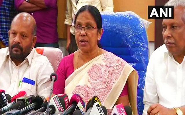 Kerala health minister KK Shailaja reporting about the status of Corona virus in Kerala in a press meet.