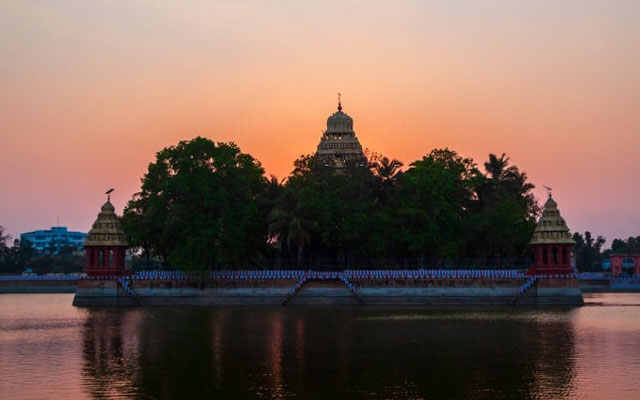 Vandiyur Mariamman Temple or Maariamman Kovil Teppakulam in Madurai city in Tamil Nadu in India at sunset