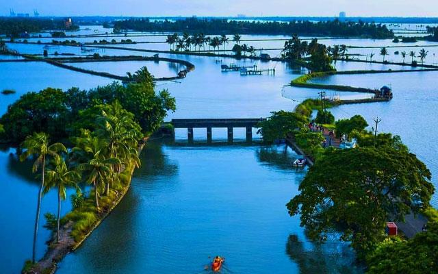 A Scenic view of Kadamaukudy Island and backwaters in Kochi, Kerala.