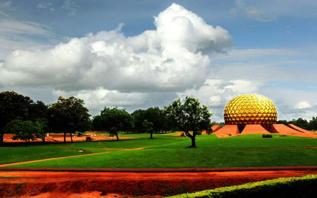 Matrimandir - Golden Temple for meditation in Auroville, an experimental township in Viluppuram district, Tamil Nadu, India