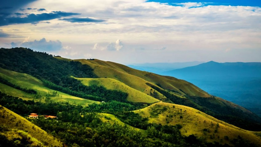 Panoramic views of the beautiful mountain slopes in Kudremukh, Chikmagalur
