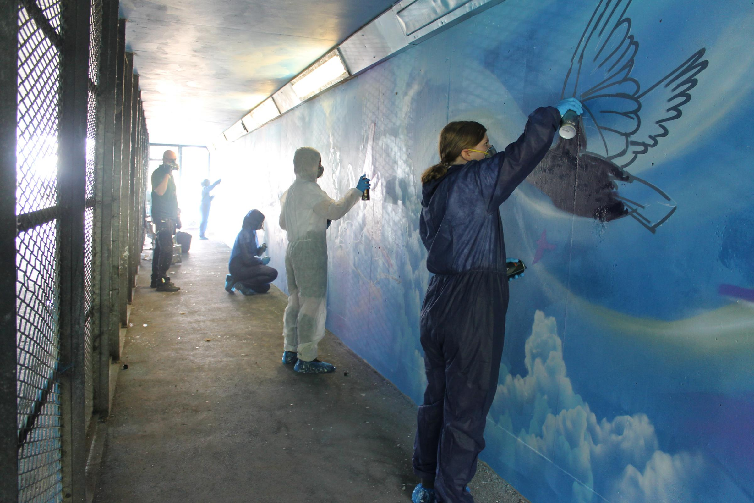 South Wales Argus: The artists hard at work