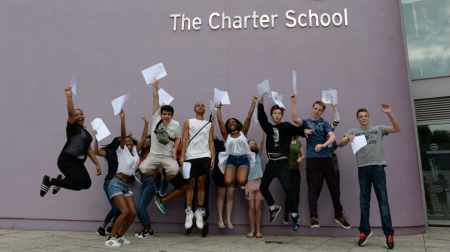 Charter School kids jump for joy on GCSE results day