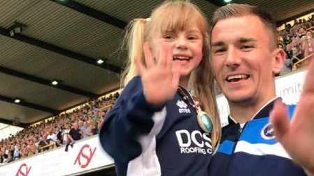 Ellice Barr with Millwall player Jed Wallace