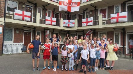 The Kirby estate in Bermondsey went viral after residents covered it in 300 England flags for the World Cup