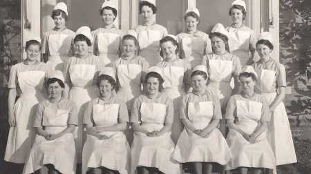 Lorna Horman at Guy's Hospital in the 1950s (pictured fourth from right in the front row)