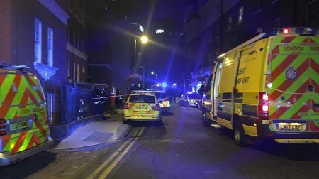 Emergency services vehicles at the scene in Snowsfields