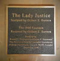 The Lady Justice Dedication Plaque