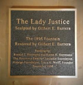 The Lady Justice Dedication Plaque