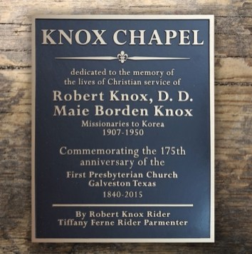 Knox Chapel Bronze plaque