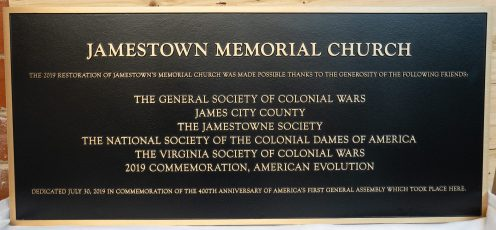 Bronze Jamestown memorial Church plaque