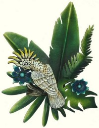 Tropical Bird Fish and Sun Wall Art Tropical Themed Wall Decor