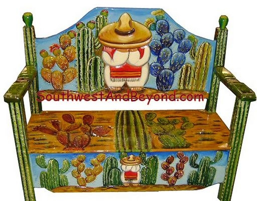 pallet wood chair antique glider carved hand painted mexican benches