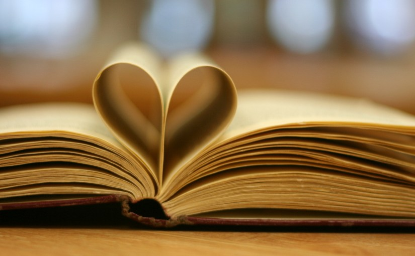 heart shaped pages in book