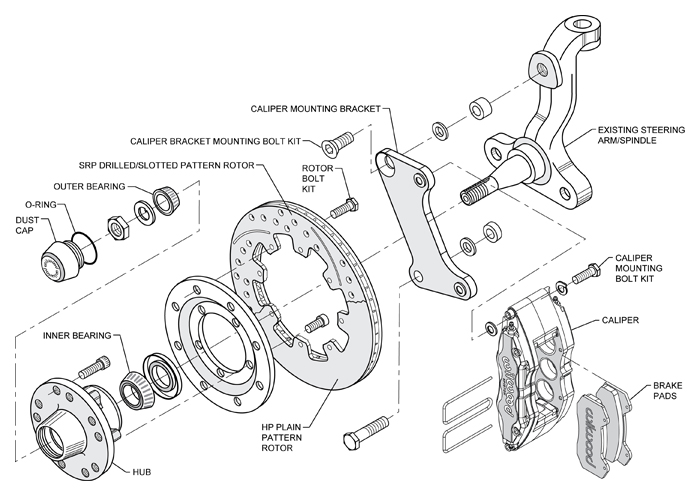 WILWOOD DISC BRAKE KIT,FRONT,67-69 CAMARO,12